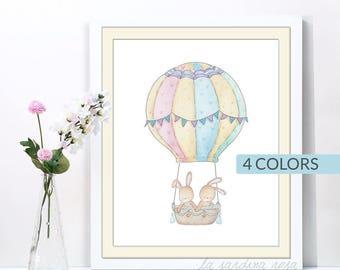 Bunny nursery wall art, kids room decor, watercolor bunny print, woodland nursery print, hot air balloon art