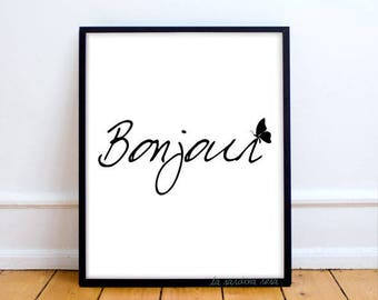 Dorm decor, Bonjour Poster, French quote, Black and white print, Bonjour wall art, Dorm printable poster Good morning Typography print #0015