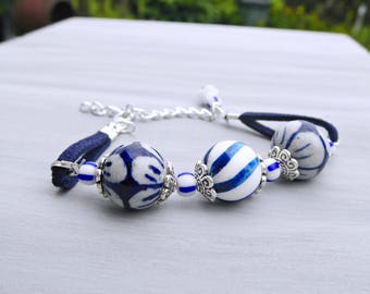 Silver Delft Blue Bracelet, Dark Blue Ceramic Bracelet, Blue and White Flower Bracelet with Suede, Delft Jewelry, Netherlands, Dutch
