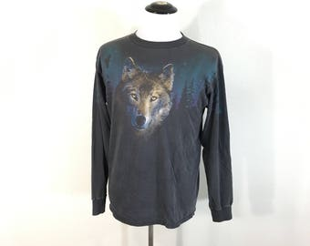 90's vintage all cotton wolf print long sleeve t-shirt size L