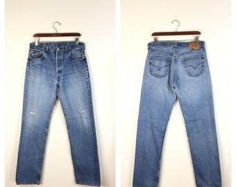 90's levi's 501 distressed straight denim pants jeans made in usa size w34