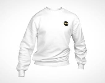 Winter Sweater - White - RG Logo & Lion Roots in Gold and Black Print