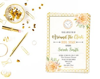 Around the clock bridal shower card,Bridal Shower,Clock Bridal Shower,bride to be,The Clock Bridal Shower,floral shower, clock shower