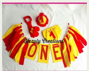 1st birthday boy outfit red and yellow , birthday banner , smash cake boy outfit , baby boy birthday outfit , red and yellow birthday outfit