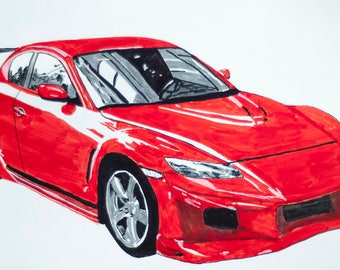 Custom Hand Drawn Color Car or Motor Bike Sketch from your Photo.  Unframed. Colored wall art.