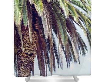 beach shower curtain, palm tree shower curtain, beach bath decor, boho bath decor, summer decor, boho decor, palm trees, california, aqua