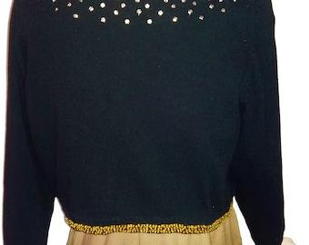 Vintage Beaded Cardigan Black Beaded Sweater Gold Sequins Seed Beads Lambswool Angora Hong Kong