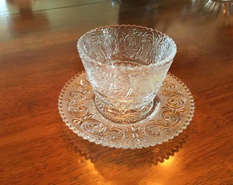 Vintage Duncan & Miller Sandwich Glass Sauce or Sugar and Dish