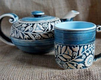 Housewarming gift Teapot and large mug Ceramic tea set Gift for women Anniversary gifts Ceramic set Cottage home decor Rustic kitchen decor
