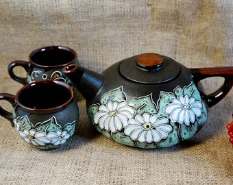 Wedding gift ideas Ceramic tea set Camomiles Butterfly Grandmother gift Gift|for|her Teapot daisies and two mugs Housewarming Floral tea set