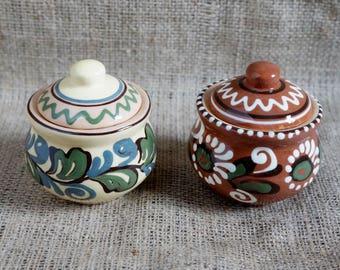 Ceramic salt cellar with lid Clay salt bowl Rustic dinnerware Mothers gift Art pottery Hand painted salt box Stoneware salt storage salt jar