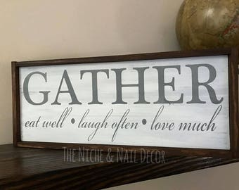 Gather Kitchen Sign, Kitchen Decor, Wedding Gift, Kitchen Sign, Home Decor, Distressed Decor, Rustic Decor, Farmhouse Sign