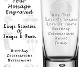 Etched Engraved Hi Ball Tumbler Glass Personalised With YOUR MESSAGE & IMAGE Selection. Lots of Fonts and Images to Choose.