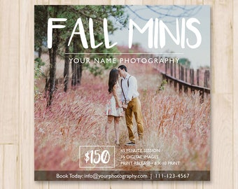 Fall Mini Sessions Template - Fall Minis Template, Social Media Booking Ad, Photography, Photographer, Photoshop Template *INSTANT DOWNLOAD*