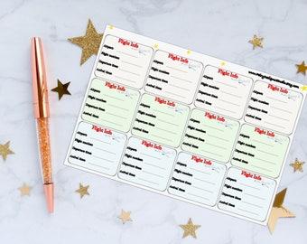 Flight Info Planner Stickers, Travel Stickers, Trip Stickers, Work Trip Stickers, Vacation Stickers, Vinyl Stickers
