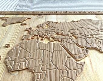 Wood world map - Wooden map - World map - Wooden wall art - 3D wood art - Map-gift for traveler - Wanderlust gift