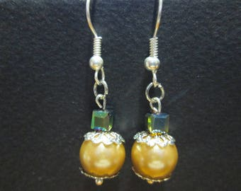 earring Pearl Crystal and satin glass