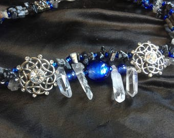 Crystal stone choker
