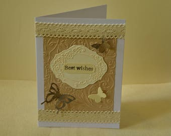Handmade card, vintage style card, butterfly card, greeting card