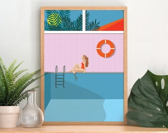 Poolside Art Print - A3 A4 Size - Modern Tropical Wall Art - Pink Blue Illustration Print - Modern Bathroom Decor - Swimming Pool Trend