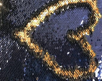 Mermaid Shiny 5mm Navy/Gold NewTwo Tone Flip up sequins/Reversible Sequins Fabric by the yard