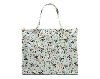 Ladies Large Reusable shopper- Oilcloth Work zip tote bag- zip shopping bag - Oil cloth Laptop computer briefcase- Butterfly bag- Waterproof