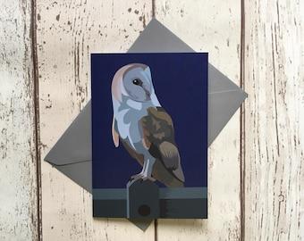 Barn Owl greeting card - blank inside