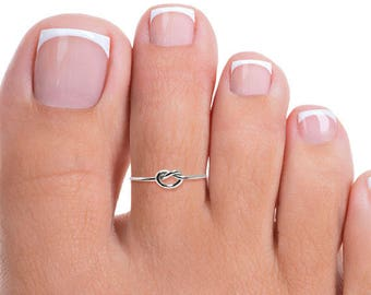 Silver Toe Ring, Thin Silver Toe Ring, Silver Knot Toe Ring, Sterling Toe Ring, Thin Toe Ring, Small Toe Ring, Tiny Toe Ring, Band Toe Ring