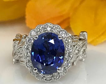 Oval Ceylon Blue Sapphire and Genuine Diamond Halo With Vine-Design Engagement Anniversary Fashion Ring In 14K White Gold #4972