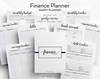 Financial Planner, Budget Planner, Happy Planner, Expense Tracker, Income Tracker, Monthly Budget, Printable Planner, Bill Tracker, Budget
