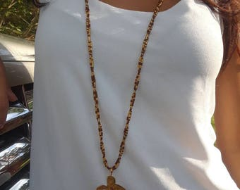 rosary with crystals and gold filled