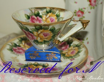 RESERVED FOR N***  Castle, Japan: Triangle footed base roses tea cup with fancy handle