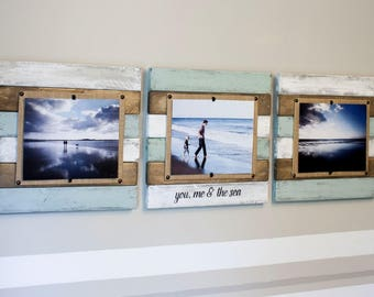 Set of 3 8x10 Wood Picture Frames, wood picture frame set, 8x10 wood frame set,reclaimed wood picture frame set, modern farmhouse frames
