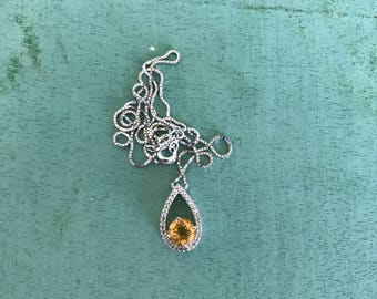 Citrine Sterling Silver Pendant Necklace