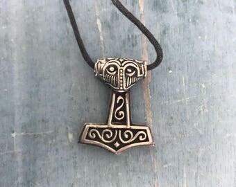 Mjölnir Thors Hammer Sterling Silver Pendant Necklace