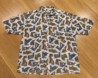 Vintage Target Geometric Wood Print Short Sleeve Button Shirt Mens 105 Large