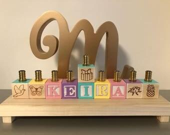 Personalized menorah/hanukiah for Hanukkah - custom name, shapes, pictures, colours