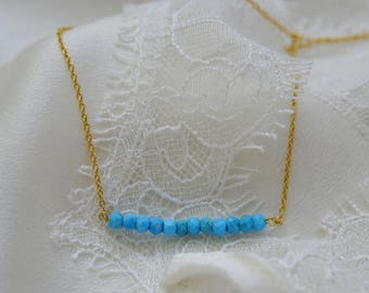 Fine Pearl Necklace with turquoise faceted Rondelle necklace 925 gold plated