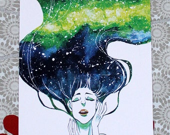 Galaxy in her hair postcard