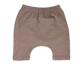 harem shorts, brown shorts, brown harem shorts, gender neutral shorts, hipster baby shorts