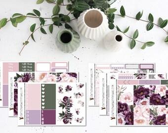 Rustic Velvet Floral || Weekly Planner Kit (175+ Stickers) || Erin Condren, Happy Planner, Recollections || SeattlekangarooPlans