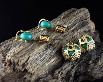 Custom Earrings - Lamp Work Petroleum Green Beads on Bronze