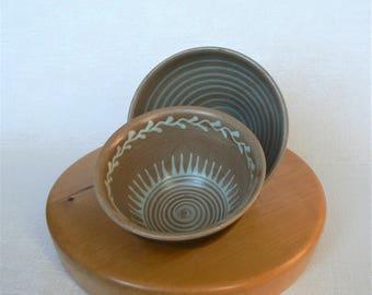 Ceramic BOWLS Vintage/ Set of 2 Small Bowls/ Colored Glaze/ Latvian Ceramics/ Handmade/ Latvia (02)