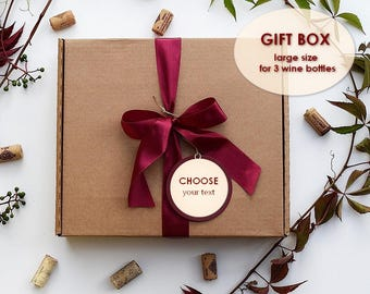 Large Custom cardboard box, wine box for 3 BOTTLES,Christmas Present Box,Christmas packaging,Ready for shipping!