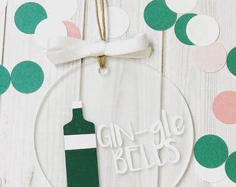 Gin Jingle Bells GIN-gle Christmas Ornament, Tree Hanging Decoration - Gin Gift - Gin Stocking Filler