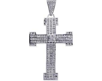7.50 Carat Channel Set Round Diamond Cross Pendant 14K White Gold