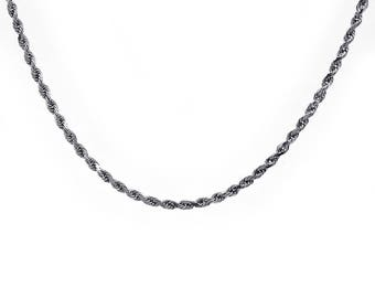 "Diamond Cut Rope Link Chain 18"" 14K White Gold"