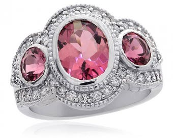 2.43 Carat Stones Pink Tourmaline With 0.50 Carat Diamond Ring 18k White Gold