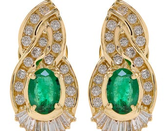 1.75 Carat Emerald & 1.35 Carat Diamond Gemstone Earrings 14K Yellow Gold