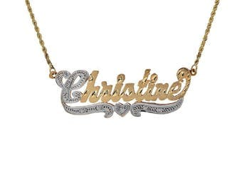 0.07 Carat Diamond 'Christine' Name Personalized Necklace 14K Two Tone Gold